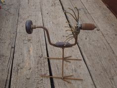 Hand Drill Bird Recycled Garden Art by Junkfx Don Hutchings