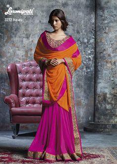 Pink net patli & orange chiffon pallu with breathtaking khati work blouse & border lace are integrating to make the best lehenga style saree.