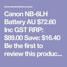 Canon rechargeable battery for Powershot cameras Canon Battery, Powershot, Cameras, Charger, Australia, Camera, Film Camera