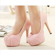 Bow Lace Design High Heel Fashion Shoes