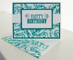 handmade birthday card ... teal and white ... luv the background design ...  all over Stippled Blossoms ... matching stamped envelope flap ... video tutorial on the blog ...bright and perky look ... Stampin' Up!