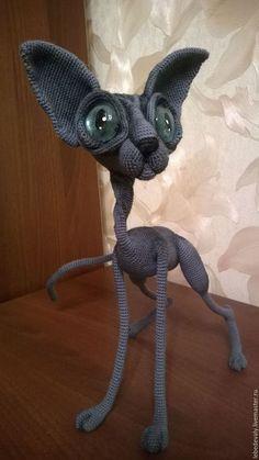 Игрушки животные, ручной работы. Ярмарка Мастеров - ручная работа. Купить Сфинкс - лысый кот серого окраса с голубыми глазами. Handmade.