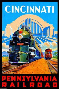 aee19c65e1459 Cincinnati Pennsylvania Vintage Railroad U s Travel Advertisement Art  Poster