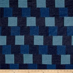 """Denim Patchwork Blue from @fabricdotcom  This medium/heavyweight denim fabric features pre-sewn patchwork that includes a variety of denim patches. This fabric is perfect for creating shirts and skirts. Each block measures approximately 3""""x 3"""". Colors include shades of blue."""