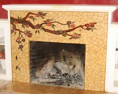 Mosaic fireplace surround by Laurel True
