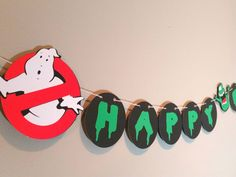 Ghostbusters, Ghostbusters birthday, ghostbusters party, ghostbusters banner, birthday party banner, Name banner, slimer, boy birthday by KpDigitalCreations on Etsy