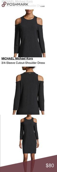 COMING SOON! MICHAEL Micheal Kors dress Cute MICHAEL Micheal Kors 3/4 length cold shoulder black  dress. Machine washable. Prefect little black dress. Michael Kors Dresses