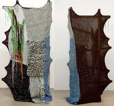Crochet Wall Art, Knit Art, Textile Fiber Art, Textile Artists, Textiles, Yarn Bombing, Weaving Art, Installation Art, Textile Design