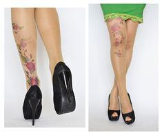 8a627d17d1c Delicate Tattoo Tights With Purple Flowers / Printed Handmade Tights /  Tattoo Women's Pantyhose / t