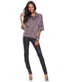 INC International Concepts Metallic-Knit Cowl-Neck Sweater & Skinny Lace-Print Pants - Womens - Macy's