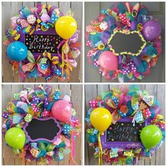 26 inch wreath with lots of colorful deco poly mesh, ribbons, tubing, deco mesh ribbons, glitzy sticks, accessories, and can be customized