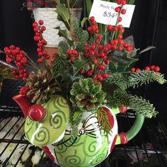 More of our Christmas arrangements! #florist #flowers #flowershop #mmflowers #white #colorful #princeton #nj #plainsboro #princetagram #christmas #arrangement #teapot #bouquet