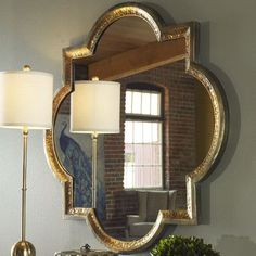 LOVE this Uttermost Mirror! MBR over night stands Uttermost Lourosa Gold Mirror Mirror Panel Wall, Wall Mirrors Metal, Round Wall Mirror, Round Mirrors, Mirror Mirror, Decorative Mirrors, Mirror Walls, Mirror Collage, Mirrors
