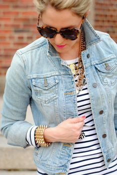 pale blue jean jacket + black and white striped shirt = layered fall outfit....think I could wear my thrill find purple skinny jeans for fun colour punch!