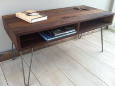 Mid century modern coffee table, black walnut with hairpin legs.