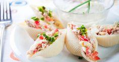 Recette de Conchiglionis farcis au thon, sauce tomate, thym et Carré Frais 0%©. Facile et rapide à réaliser, goûteuse et diététique.