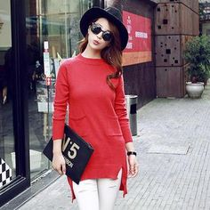 Buy 'Munai – Pocket-Accent Slit-Hem Long Sweater' with Free International Shipping at YesStyle.com. Browse and shop for thousands of Asian fashion items from China and more!