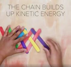 Exploding rainbow kinetic energy experiment using popsicle sticks. So cool!