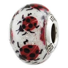 Reflection Beads Sterling Silver Lady Bugs Italian Murano Bead  Sale Priced at $26.