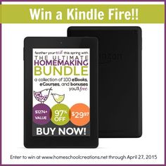 Win a Kindle Fire from Homeschool Creations to store your many ebooks - or use during your school time. Giveaway ends 4/27/15 at 11:59pm.