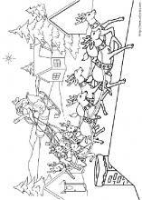 Coloriage de l'arrivée du père Noël