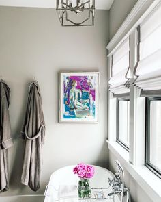 @buildingcolwynbay uses Blinds.com Roman Shades to bring privacy to their bathroom windows while still flooding the room with natural light. Color is Lexi White with Pebble Edge Banding. (art by @clrennieart) #homedecor #interiordesign #decorideas #bathroomdecor #traditionaldecor #bathroomideas Bathroom Window Treatments, Bathroom Windows, Motorized Shades, Custom Shades, Shades Blinds, Drapery Panels, Window Coverings, Roman Shades, Old And New