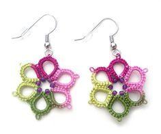 Spring Garden Tatted Earrings, Tatted Flower Earrings, Tatted from Vintage Design