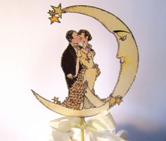 Crescent Moon Wedding Cake Topper, Vintage Bride And Groom -Small Size- 1920's , Art Deco Wedding Decor - Silver., via Etsy.