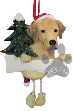 Dangling Leg Yellow Labrador Christmas Ornament http://doggystylegifts.com/products/dangling-leg-yellow-labrador-christmas-ornament