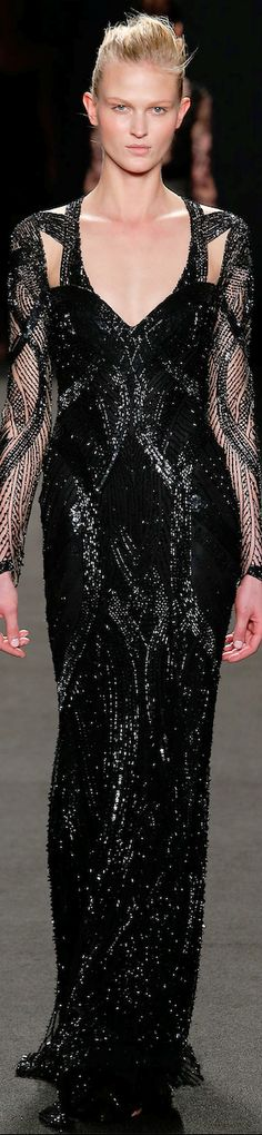 Monique Lhuillier RTW Fall 2014 | black | beaded | embellished evening gown | high fashion