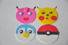 Pokemon  Fondant Cupcake Topper decoration. $17.95, via Etsy.