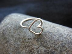 Heart Silver nose hoop.. I've been wanting to try a hoop!