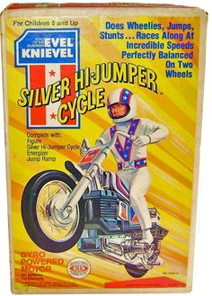 """original Ideal Toy was first stocked on the shelves of toy stores in 1973 with thier first edition Evel Knievel, """"King of the Stuntmen"""", Stunt Cycle. The Gyro Powered Motor bike was an instant hit for children 5 years old and up 1970s Toys, Retro Toys, Vintage Toys, 1980s, Childhood Toys, Childhood Memories, 1970s Childhood, Evel Knievel Toys, Toys In The Attic"""