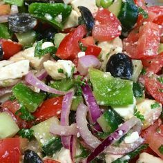 salade Griekse salade (origineel Grieks re+ Best Vegetarian Recipes, Veggie Recipes, Salad Recipes, Healthy Recipes, 21 Day Fix, Caprese Salad, Pasta Salad, Diet Food To Lose Weight, Healty Lunches