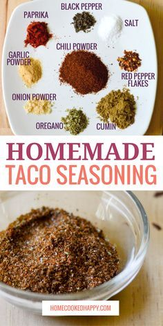 the best homemade taco seasoning recipe! So easy, and mild yet full of flavor. In addition to a small batch recipe (perfect for one pound of meat), a large batch recipe is also included, so you can make it once and use it for weeks to come. Make Taco Seasoning, Seasoning Mixes, Ground Beef Taco Seasoning, Chipotle Taco Seasoning Recipe, Gluten Free Taco Seasoning, Mexican Seasoning, Chicken Fajita Recipe, Taco Recipe, Dry Rubs