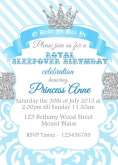 Princess invitation birthday party blue white party printable gold royal crown blue princess invite