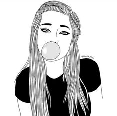 black and white, bubblegum, drawimg, drawing, follow me, girl, outline, outlines, follow for more
