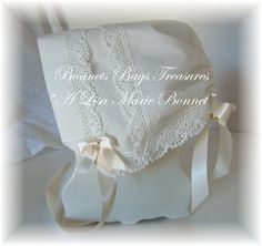 Heirloom Magic Hanky Bonnet IVORY Sea Side lace This beautiful cotton bonnet is made from a handkerchief with delicate crocheted lace