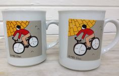 vintage bicycle mugs  Cobblestone Lane by Vivi Bibliotheque bicycle coffee tea ceramic mugs, set of 2, 1982 by MotherMuse on Etsy