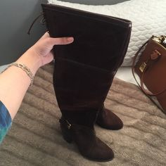 Christian Dior Suede Boots Christian Dior Over the Knee Suede Boots.  Too small for me, I wish they fit, but great find. Want to sell fast, open to negotiating/trade Never worn. Dior Shoes Over the Knee Boots