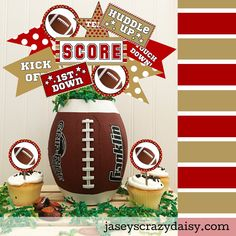 You've got the food planned, now all you need is to add some festive football party decorations to your table for the BIG game! Use these printable decorations to create a wining party! Football Party Decorations, The Game Is Over, Hostess Gifts, Party Printables, Cupcake Toppers, Daisy, Big Game, Crafty, Party Ideas