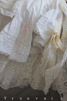 antique petticoats all in a row. You can find them at Vintageblessings on ebay!