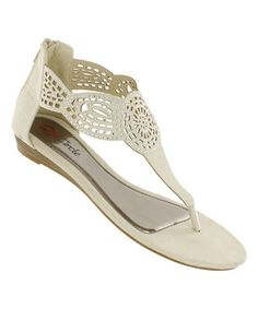 Look what I found on #zulily! Nude Laser-Cut Circus Wedge Sandal #zulilyfinds