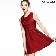 Wholesale Casual Dresses - Buy MIUCO2013 European Leg Heavy Winter New Women's Temperament Dress Beaded Sleeveless Jacquard Big Red, $92.26 | DHgate