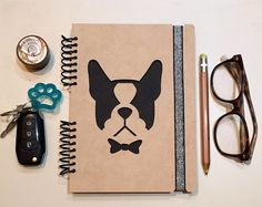French Bulldog Notebook, Journal, notebook, diary, sketchbook, memory book, scrapbook, gift, dog lover, new puppy, dogs, wood notebook, dog