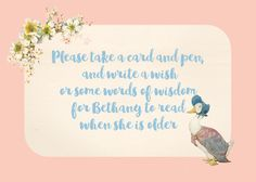 Classic and traditional Peter Rabbit / Jemima Puddle Duck / Beatrix Potter party stationery by HipHipHooray.com  Personalise online with your own text. Available as an instant printable digital download / PDF - or order professionally printed.   Perfect for a children's birthday party, Christening, Baptism, Naming Day, Dedication or Baby Shower....
