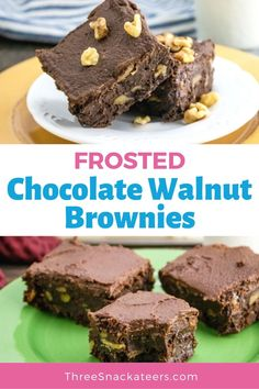 Learn how to make the best fudgy walnut brownies from scratch. This easy homemade recipe uses cocoa powder, chocolate chips and butter (not oil) for chewy, gooey brownies that are way better than from a box mix. These brownies are topped with a simple and tasty chocolate buttercream frosting. Easy Homemade Recipes, Easy Baking Recipes, Sweet Recipes, Snack Recipes, Dessert Recipes, Desserts, Easy Snacks, Yummy Snacks, Yummy Food