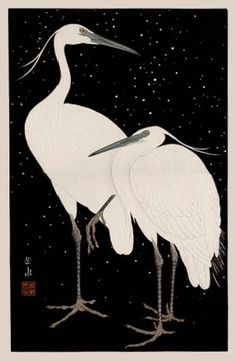 Herons in Snow  by Ide Gakusui  (published by Watanabe Shozaburo)