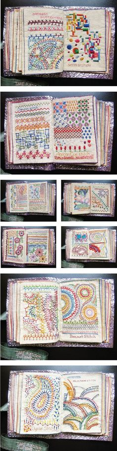 Admiring the embroidered fabric book created by Bangalore-based stitcher Maya Matthew. Her blog Million Little Stitches is described as a creative outpourings of the stitch obsessed. She shows #brazilianembroidery