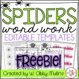 Spiders Word Work FREEBIE! {editable templates}